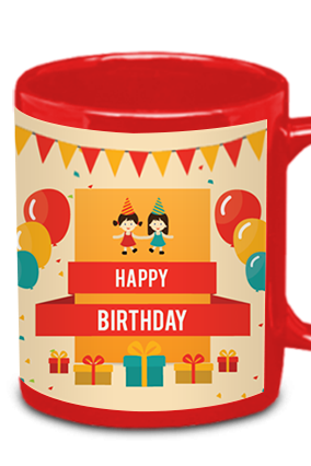 Customized Birthday Red Patch Mug