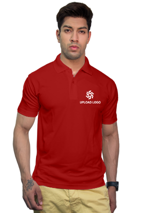 190GSM - Create Your Own Red Collar Matty T-Shirt