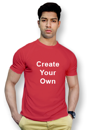 110GSM - Create Your Own Red Round-Neck Dry-Fit T-Shirt