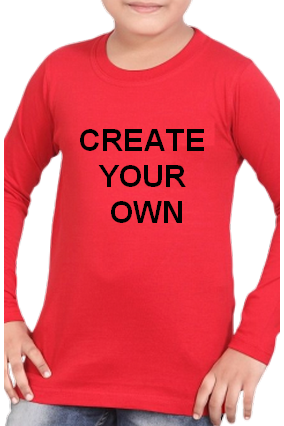 Create Your Own Red Round Neck Cotton Full Sleeve Kids T-Shirt