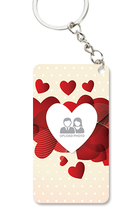 Red Heart Small Rectangle Key Chain