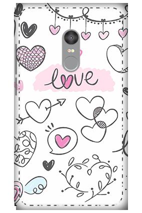 3D - Xiaomi Redmi Note 4 Pure White Love Mobile Covers