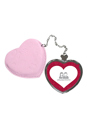 Customize Unique Heart Hand Mirror With Leather Case