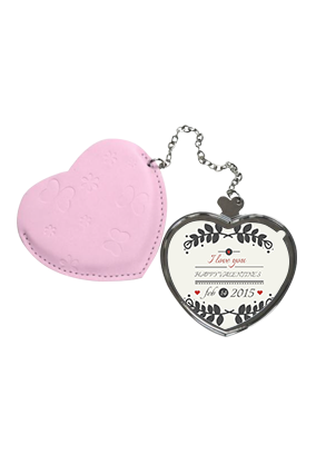 Be My Valentine Heart Hand Mirror With Leather Case