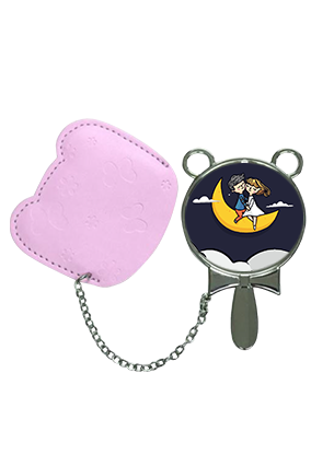 First Love On Moon With Pouch Cover Hand Mirror With Leather Case