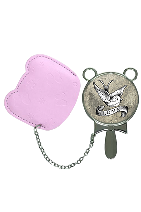 Unique Love With Pouch Cover Hand Mirror With Leather Case