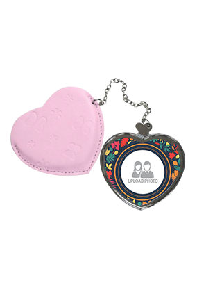 Multicolor Heart Hand Mirror With Leather Case