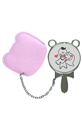 Lovely Couple With Pouch Cover  Hand Mirror With Leather Case