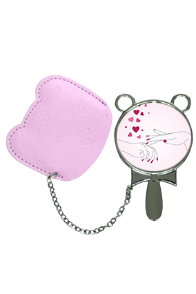 Hand On Hand With Pouch Cover Hand Mirror With Leather Case