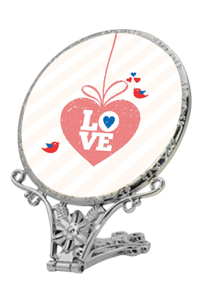 Hanging Heart Antique Standing Mirror