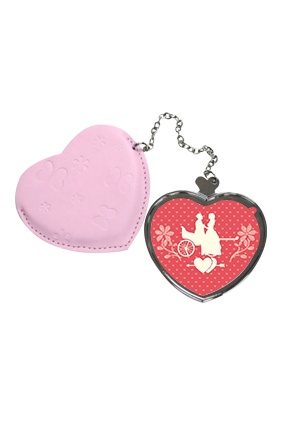 Proposal Love Heart Hand Mirror With Leather Case