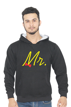 Mr Typography With Bow Full Sleeves Black Hoodie
