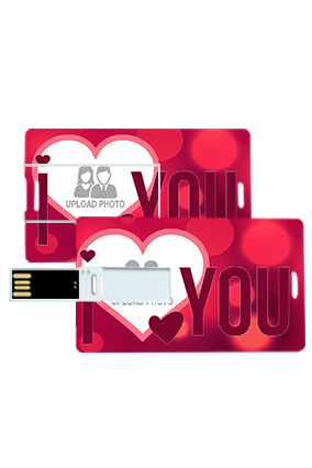I Love U With Blured Heart Valentine's Day Credit Card Pen Drives