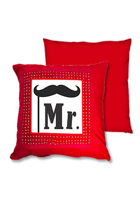 Mr With Moustace Red Square Cushion