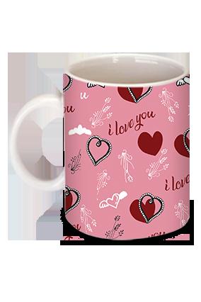 Pink I Love U With Heart Mug