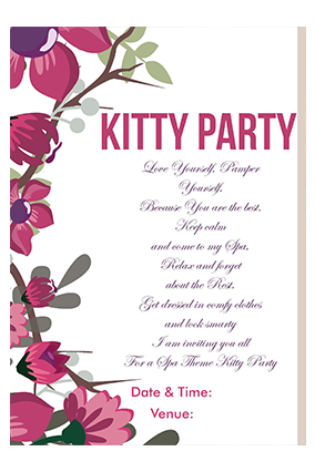 Kitty Party Invitation Kitty Party Invitation Cards Printing