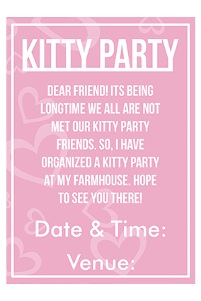Kitty party invitation kitty party invitation cards printing light pink with heart invitation card stopboris Images