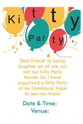 Buy Personalized Kitty Party Invitation Cards Online In India With