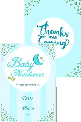 Moon And Stars Namkaran Invitation Card