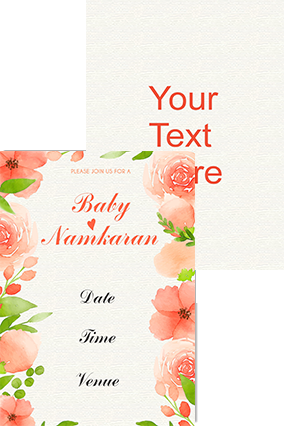 Peach Floral Namkaran Invitation Card ...