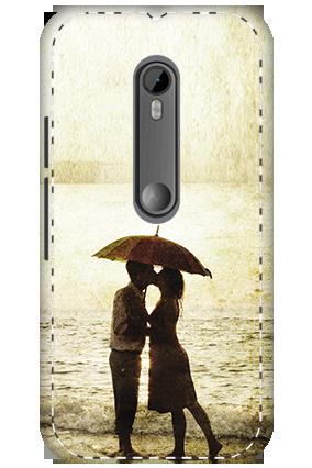 3D - Motorola Moto G3 White High Grade Plastic Lovely Couple Mobile Cover