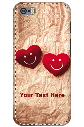 3D - Apple Iphone 5S White High Grade Plastic Smiley Heart Mobile Cover