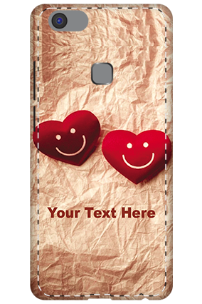 3D -Vivo V7 Plus  White High Grade Plastic Smiley Heart Mobile Cover
