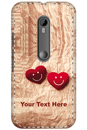 Personalised 3D-Motorola Moto G3 White High Grade Plastic Smiley Heart Mobile Cover