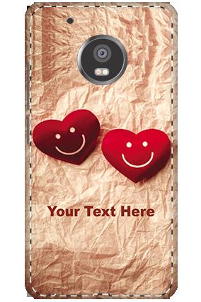 3D - Moto G5 Plus White High Grade Plastic Smiley Heart Mobile Cover
