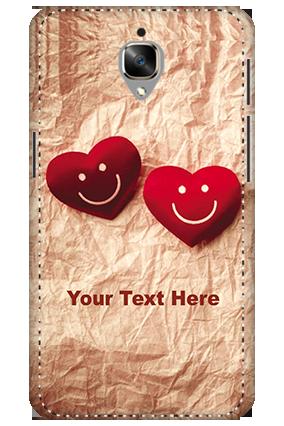 3D - Oneplus 3T White High Grade Plastic Smiley Heart Mobile Cover