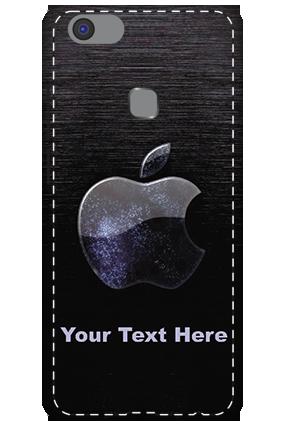 3D -Vivo V7 Plus  White High Grade Plastic Black Apple  Mobile Cover
