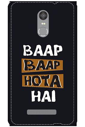 3D - Redmi Note 3 White High Grade Plastic Baap  Baap Hota Hai Mobile Cover