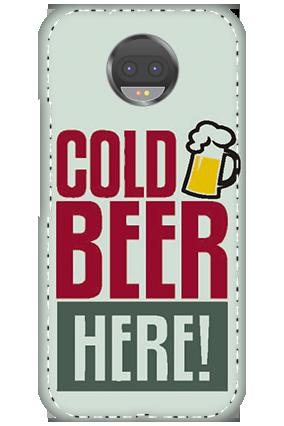 3D - Motorola Moto G5S Plus White High Grade Plastic Cold Beer Here Mobile Cover
