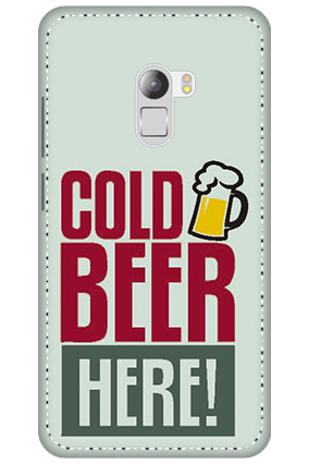 Customized 3D-Lenovo K4 Note White High Grade Plastic Cold Beer Here Mobile Cover