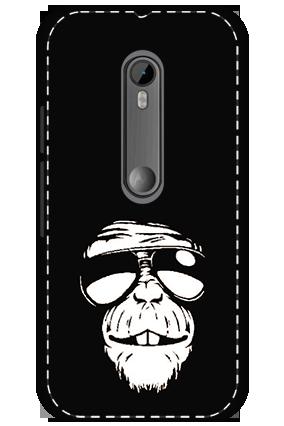 3D - Motorola Moto G3 White High Grade Plastic Funky Monkey Mobile Cover
