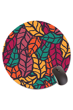 Autumn Leaves Round Mouse Pad