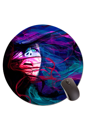 Blue Eye Girl Round Mouse Pad