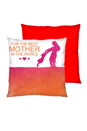 Love Your Mom Polyester Square Red Cushion