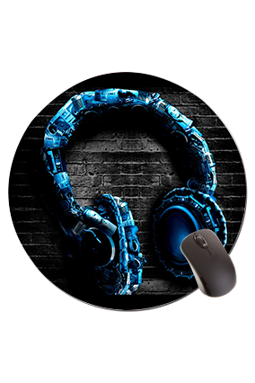 Head Phones Round Mouse Pad