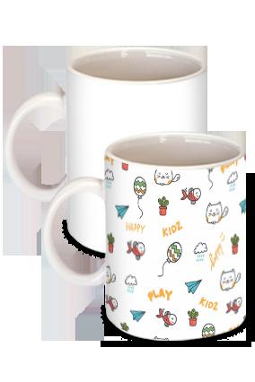 Playing Happy Kids White Ceramic Kids Coffee Mug