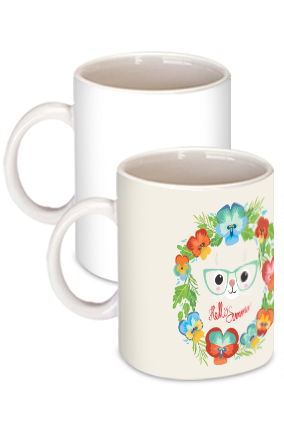 Funny Cat White Ceramic Kids Coffee Mug