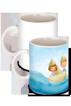 Paper Boat White Ceramic Kids Coffee Mug