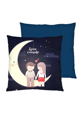 Love Couple Polyester Square Shape Navy Blue Cushion