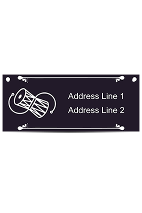 Damaru Design Acrylic Nameplate (12 x 5 Inches)