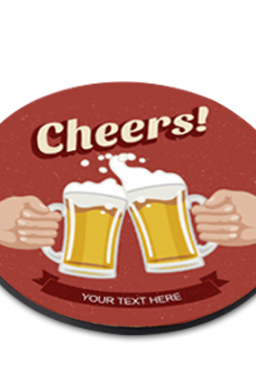 Cheers Round Printed Coaster