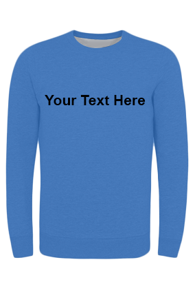 Customized Seven - Custom Text Straight Black Print Blue Sweatshirt