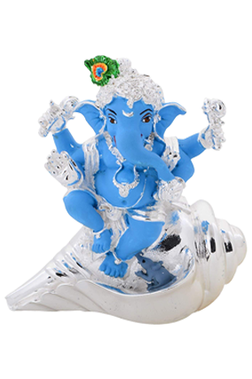 Silver Ganesh With Shankh
