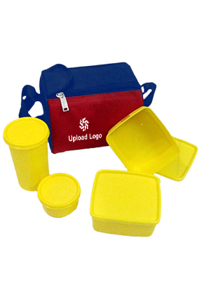 Premium Upload Logo Topware 2 Food Container 1 Pickle Container And 1 Flask Yellow Lunch Box