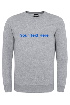 Seven - Custom Text Straight Blue Print Gray Sweatshirt
