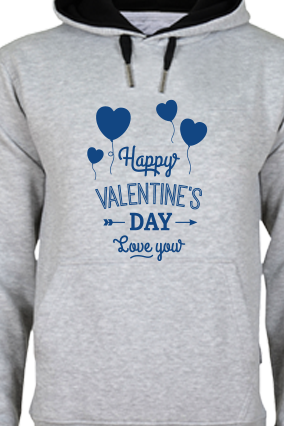 Customize Happy Valentine's Day Blue Print Gray Hoodie
